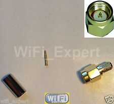 1 x Sma Male with Male pin crimp Rg58 Rg142 Rg400 Lmr195 cable Rf Connector Usa