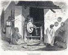 Antique print workers Kabylië Kabylia 1869 draaierij