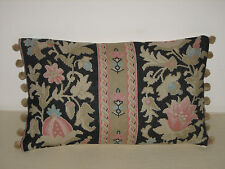 "NEW Kate Forman Genevieve Linen Fabric 20""x12"" Pom Pom or Piped Cushion Cover"