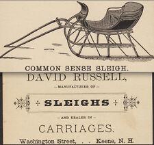 Antique Keene NH Common Sense Sleigh David Russell Victorian Advertising Card