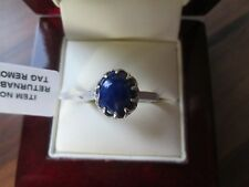 GENUINE LAPIS LAZULI STERLING SILVER SOLITAIRE RING SIZE M
