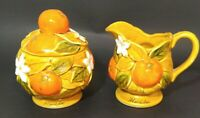 Vintage 70's Inarco Orange Spice Creamer and Sugar Bowl Florida Made in Japan