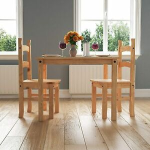 New Small Natural Wooden Dining Table And 2 Chairs Set Kitchen Room Rustic Pine