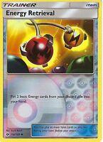 POKEMON SUN & MOON CARD: ENERGY RETRIEVAL - 116/149 - REVERSE HOLO