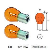 2 X 581 AMBER BULBS ORANGE INDICATOR LIGHT BULB 12V21W BAU15S PY21W CAR VAN NEW