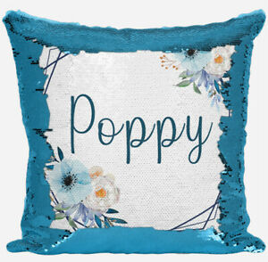 Personalised Floral Design Any Name Magic Reveal Blue Sequin Cushion Cover 21