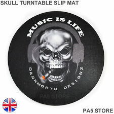 "12"" SKULL Music Is Life Turntable Slip Mat - DJ Technics Vestax Stanton Numark"