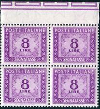 1955 Italia Repubblica segnatasse stelle 8 lire nuovo bordo quartina ** MNH  SPL