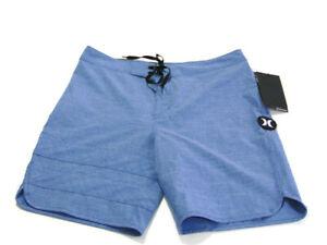 "Hurley Boardshorts Blue Phantom Block Party 18"" Rear Zip Pocket Mens Size 28 NEW"