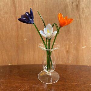 Glass Flowers - Tall Crocus - Suffolk Studio Glass UK Handmade Model - New