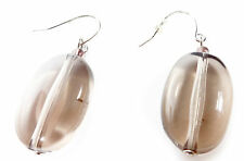 LADIES FASHION CASUAL HIPPY CHIC GREY TRANSPARENT OVAL STONE DANGLE EARING (ZX1)