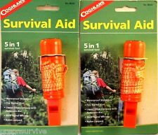 2 PK SURVIVAL AID-COMPASS-WHISTLE-WATERPROOF BOX-FIRESTARTER FLINT-NYLON LANYARD