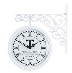 Antique Art Design Double Sided Wall Clock Station Clock Home Decor - 6064White