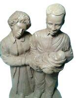 Mom,Dad & Baby Carved Figurine Pecan Shell Resin John Pleasants