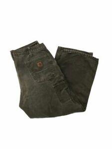 Carhartt Mens B11 Mos Carpenter Work Pants Green Dungaree Fit Pockets 38 X 30