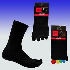 Zehensocken, Baumwolle, schwarz o. schwarz-bunt, mit echter Ferse, handgekettelt
