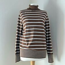 PETER HAHN Top Size 16 Roll Polo Neck Brown Stripe 100% Supima Cotton