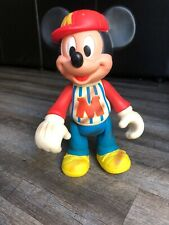 Vintage Disney Plastic Mickey Mouse 12� Figurine With Jointed Arms And Legs
