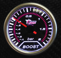 Universal 52mm Bar White Led Light Pressure Turbo Boost Gauge Meter DC 12V