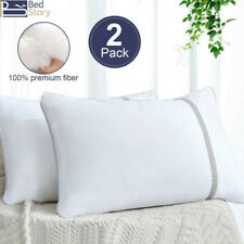 Bedstory 2Pcs Hypoallergenic Quilted Pillow Gusseted Hotel Pillows Standard King