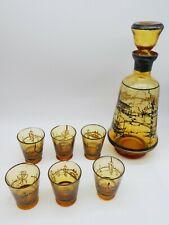 More details for free blown glass decanter x6 glasses liquor pontil antique/vintage mid century