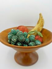Vintage Sequin Fruit Lot Walnut Wood Pedestal Bowl Sequinned Banana Cherry Grape