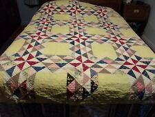 yellow cutter hand pieced & quilted 70X86 crafts very worn
