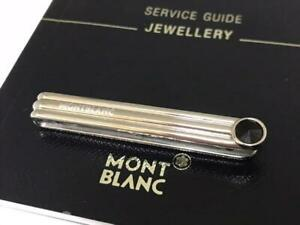 Used Mont Blanc Stripe Necktie Pin Tie Clip Mens Accessories Onyx With Box