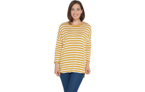 Martha Stewart Knit Striped 3/4 Sleeve Tunic Yellow Gold L A342529 QVC