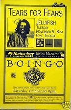 TEARS FOR FEARS & JELLYFISH / OINGO BOINGO 1993 SAN DIEGO CONCERT TOUR POSTER