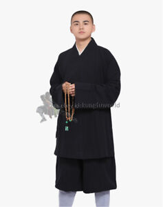Thick Cotton Buddhist Shaolin Monk Robe Daily Kung fu Suit Meditation Uniforms