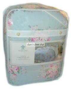 SIMPLY SHABBY CHIC Bella Blue Floral Roses QUEEN COMFORTER SET FULL PINK COTTON