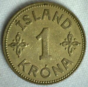 1940 Iceland Aluminum Bronze 1 Krona Coin Extra Fine Circulated Christian X
