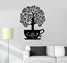 Vinyl Decal Coffee Beans Shop Tree Kitchen Decor Wall Stickers Mural (ig3557)