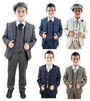 Kids 3 Piece Suit Boys Tweed Check Wool Peaky Blinders 1920s Classic Vintage