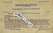 1918 ROCKPORT TEXAS J. M. Hoopes Realty Company ADVERTISING LETTERHEAD signed