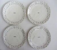 """RAE DUNN Magenta DINNER Plates Melamine 10"""" TOOL ICONS EAT SAVOR TASTE DINE NEW"""