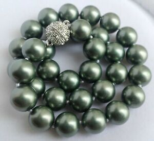 beautiful each knot 14 mm southsea Black Blue shell pearl necklace 20 inch