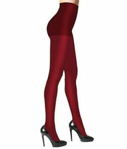 L347 Dkny Crimson Red Women's Comfort Luxe Semi Opaque Control Top Tights