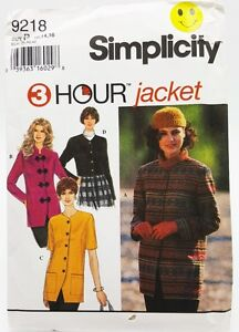 Womens Jacket Sewing Pattern 4 Styles 3 Hour 9218 Simplicity Size 12 14 16 New