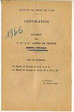 CONVOCATION FACULTE DE DROIT DE LYON EXAMEN 1946 SESSION SPECIALE