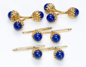 Tiffany & Co. Schlumberger Double Acorn Lapis 18K Yellow Gold Cufflinks Stud Set
