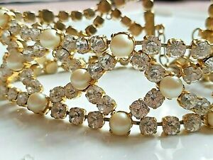 RARE DOLCE & GABBANA runway piece clear crystal, gold tone faux pearl choker