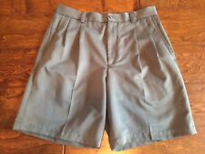 CLAIBORNE MENS Gray Pleated Relax Casual Dress Shorts 33 x 9 inseam