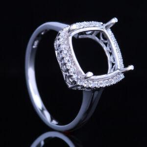 9-10mm Cushion Cut Semi Mount Diamond Ring Solid 14K White Gold Prong Setting