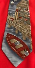 Rare HTF Neck Tie Tropicals By Tango Fishing Surf Board Palm Trees