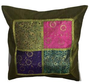 Kissenbezug 40x40 Grün Indien Orient Ornamente Bollywood Patchwork (X19)