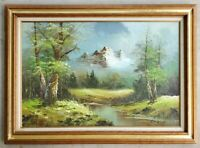 Antique Original Oil Painting Mountain Autumn Forest Landscape Vintage Frame
