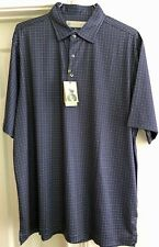 Donald Ross Short Sleeve Golf Polo Shirt Navy Plaid Men's Size XL - NWT