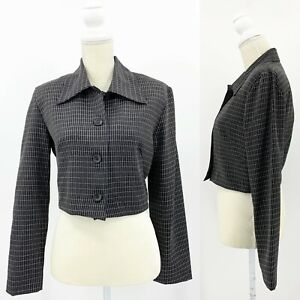 Vintage La Belle Women's 9 Black & White Window Pane Cropped Blazer Jacket